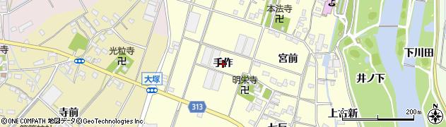 愛知県西尾市一色町大塚(手作)周辺の地図