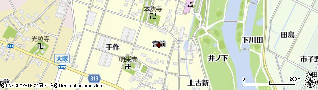 愛知県西尾市一色町大塚(宮前)周辺の地図