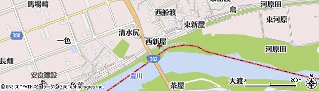 愛知県豊川市当古町(西新屋)周辺の地図