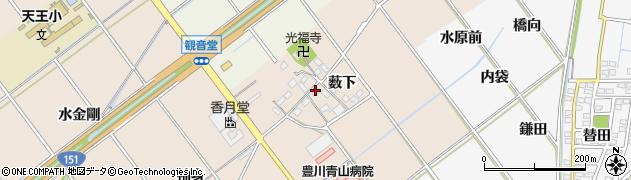 愛知県豊川市西島町(薮下)周辺の地図