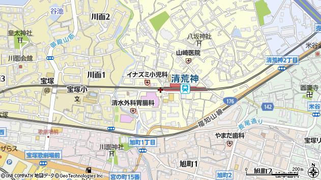 〒665-0836 兵庫県宝塚市清荒神の地図