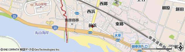 愛知県豊川市御津町赤根(前浜)周辺の地図