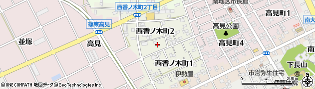 愛知県豊川市西香ノ木町周辺の地図