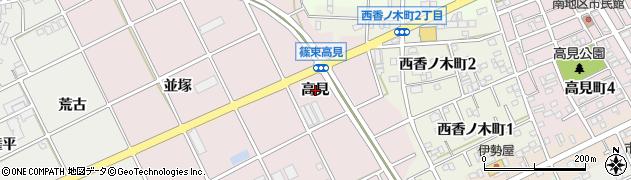 愛知県豊川市篠束町(高見)周辺の地図