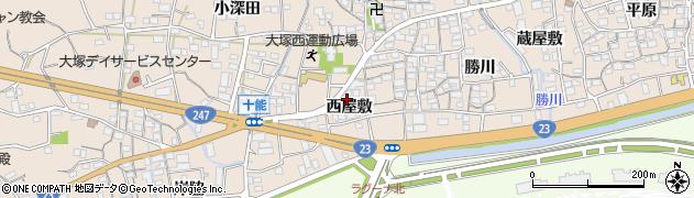 愛知県蒲郡市大塚町(西屋敷)周辺の地図