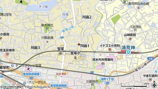 〒665-0842 兵庫県宝塚市川面の地図