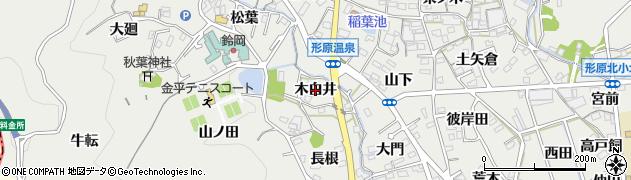 愛知県蒲郡市金平町(木白井)周辺の地図