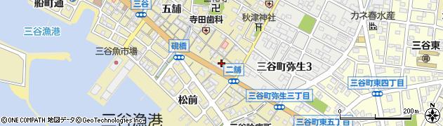 愛知県蒲郡市三谷町(二舗)周辺の地図