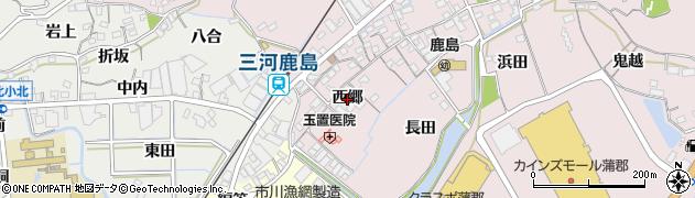 愛知県蒲郡市鹿島町(西郷)周辺の地図