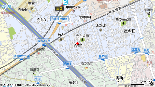 〒665-0852 兵庫県宝塚市売布の地図
