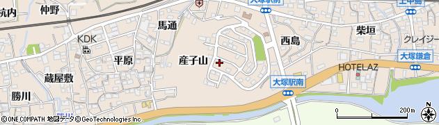 愛知県蒲郡市大塚町(産子山)周辺の地図