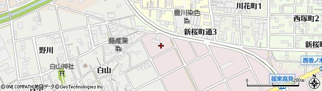 愛知県豊川市篠束町(並塚)周辺の地図