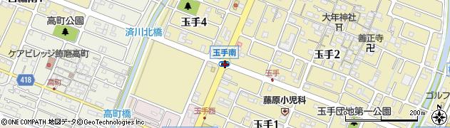 玉手南周辺の地図