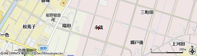 愛知県西尾市一色町池田(永筬)周辺の地図