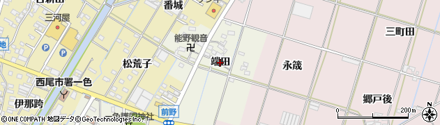 愛知県西尾市一色町前野(端田)周辺の地図