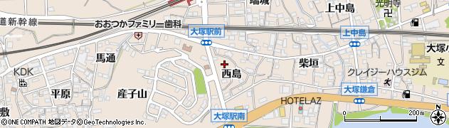 愛知県蒲郡市大塚町(西島)周辺の地図
