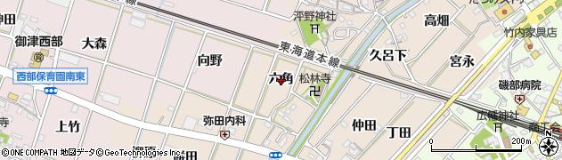 愛知県豊川市御津町泙野(六角)周辺の地図