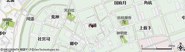 愛知県豊川市土筒町(西浦)周辺の地図