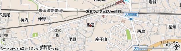 愛知県蒲郡市大塚町(馬通)周辺の地図