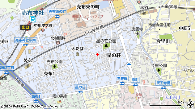 〒665-0866 兵庫県宝塚市星の荘の地図