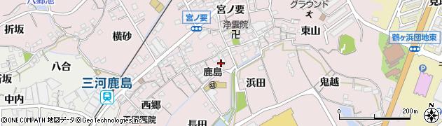 愛知県蒲郡市鹿島町(中郷)周辺の地図