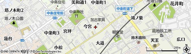 愛知県豊川市中条町周辺の地図