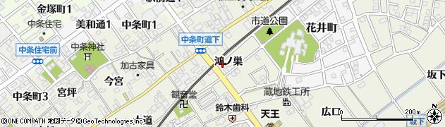 愛知県豊川市中条町(鴻ノ巣)周辺の地図