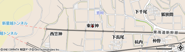愛知県蒲郡市大塚町(東笠神)周辺の地図