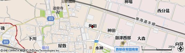 愛知県豊川市御津町赤根(角田)周辺の地図