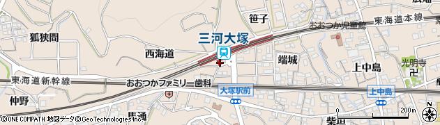 愛知県蒲郡市大塚町(端城)周辺の地図