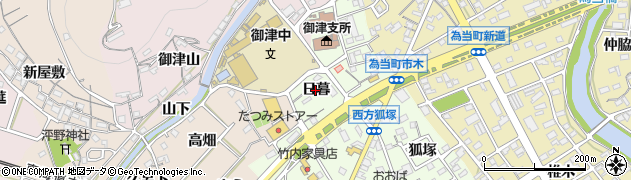 愛知県豊川市御津町西方(日暮)周辺の地図