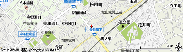 愛知県豊川市中条町(道下)周辺の地図