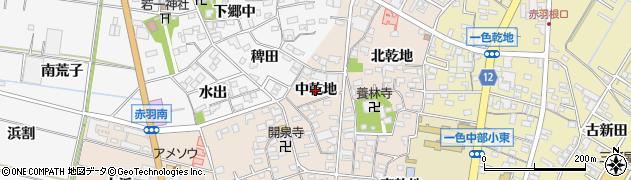 愛知県西尾市一色町味浜(中乾地)周辺の地図