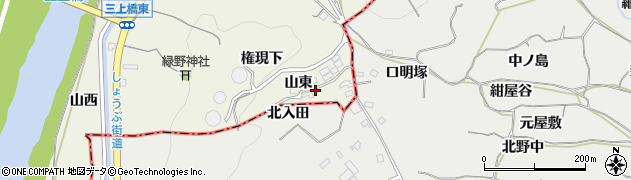愛知県豊川市三上町(山東)周辺の地図