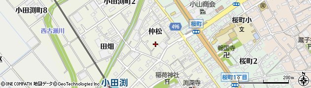 愛知県豊川市小田渕町周辺の地図