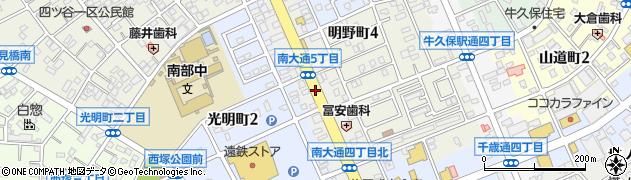 愛知県豊川市南大通周辺の地図