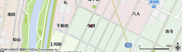 愛知県西尾市吉良町富田(小割)周辺の地図