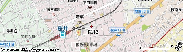 大阪府箕面市桜井周辺の地図