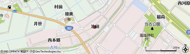 愛知県豊川市当古町(池田)周辺の地図