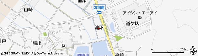 愛知県西尾市吉良町友国(池下)周辺の地図
