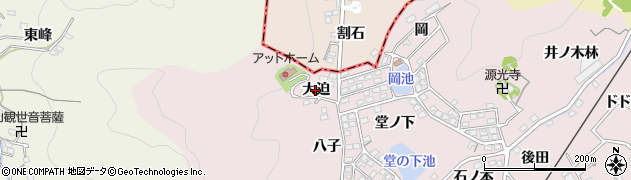 愛知県蒲郡市鹿島町(大迫)周辺の地図