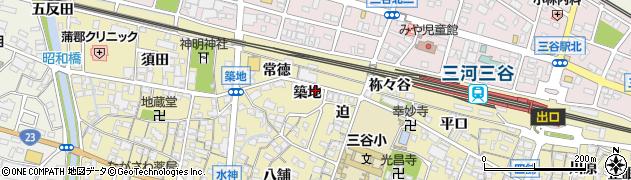 愛知県蒲郡市三谷町(築地)周辺の地図