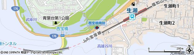 西宝橋南詰周辺の地図