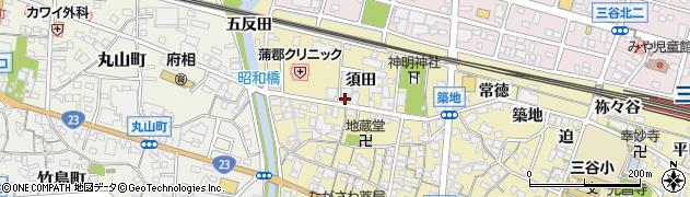 愛知県蒲郡市三谷町(須田)周辺の地図