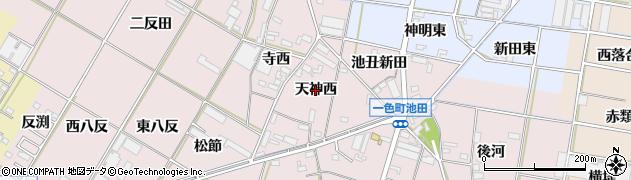 愛知県西尾市一色町池田(天神西)周辺の地図