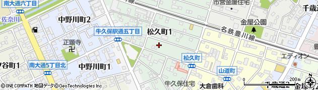 愛知県豊川市松久町周辺の地図