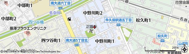 愛知県豊川市中野川町周辺の地図