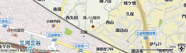 愛知県蒲郡市三谷町(西山)周辺の地図