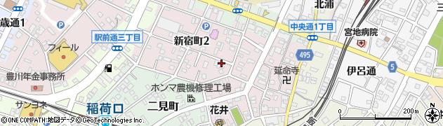 愛知県豊川市新宿町周辺の地図
