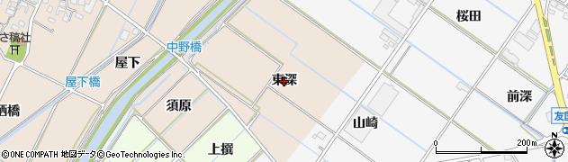 愛知県西尾市吉良町中野(東深)周辺の地図